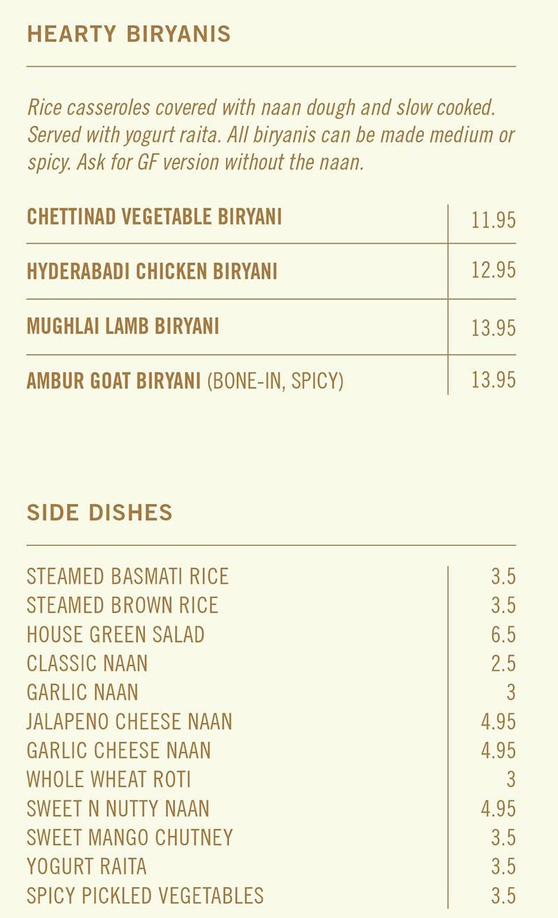 Saffron Circle menu - biryani, sides