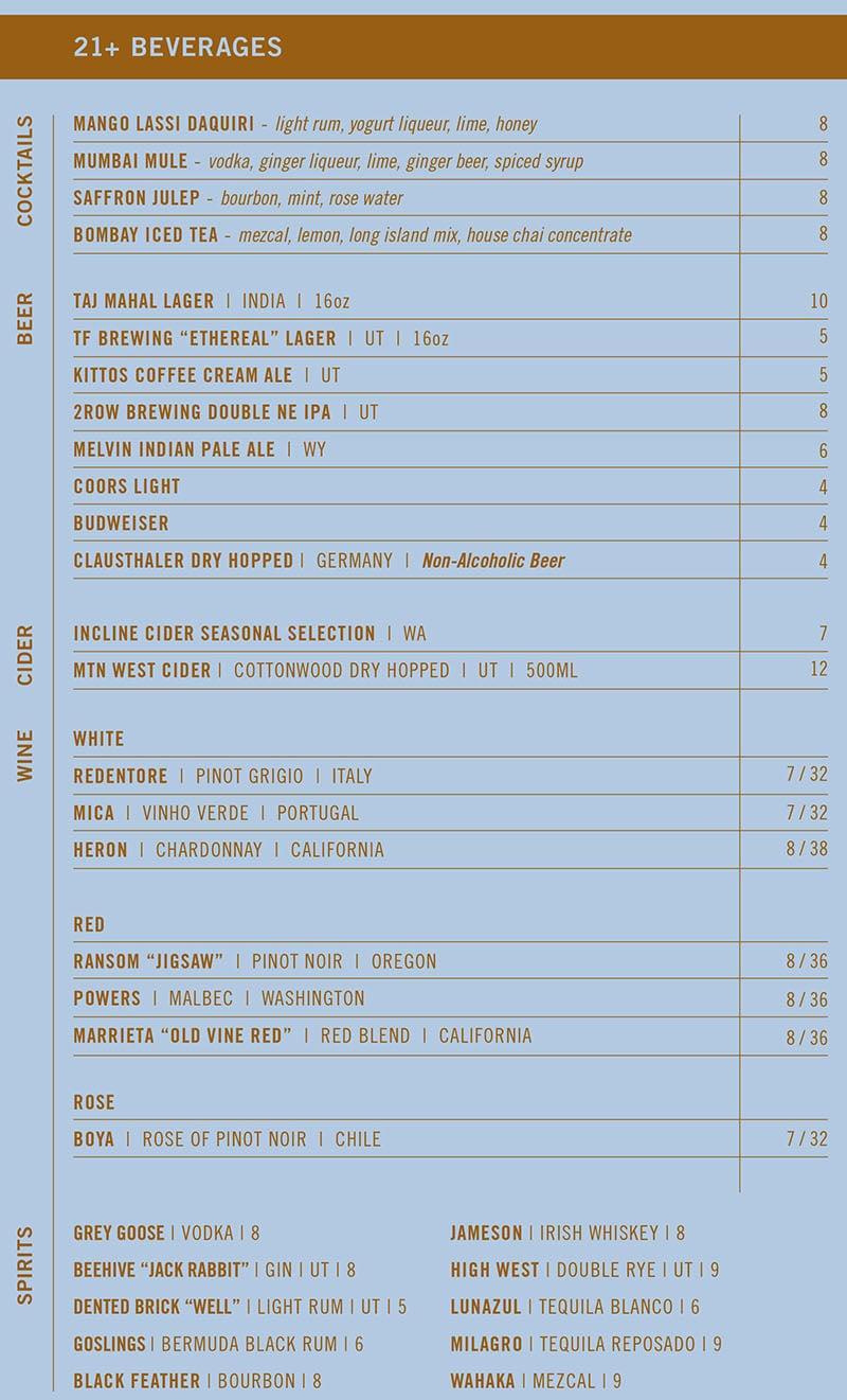 Saffron Circle menu - cocktails, beer, wine, cider, spirits