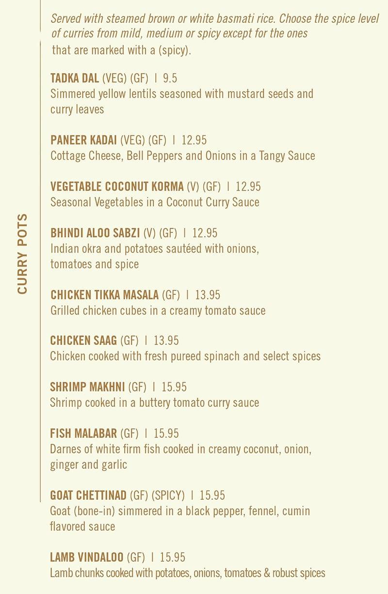 Saffron Circle menu - curry pots