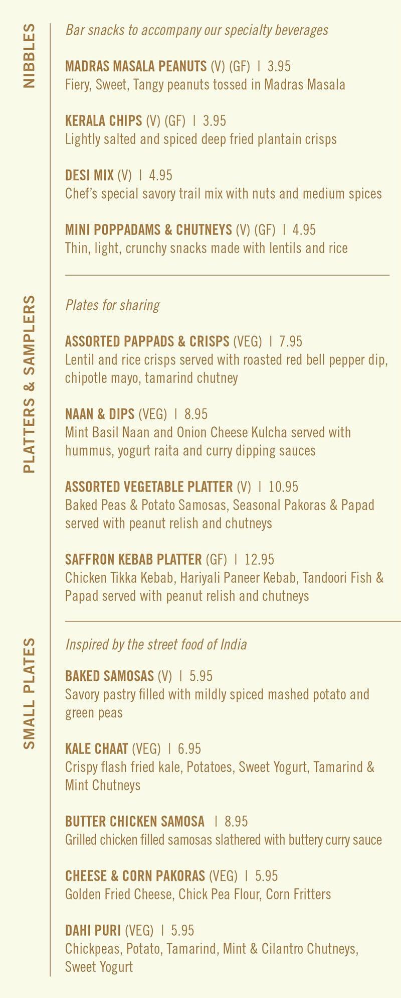 Saffron Circle menu - nibbles, platters, small plates