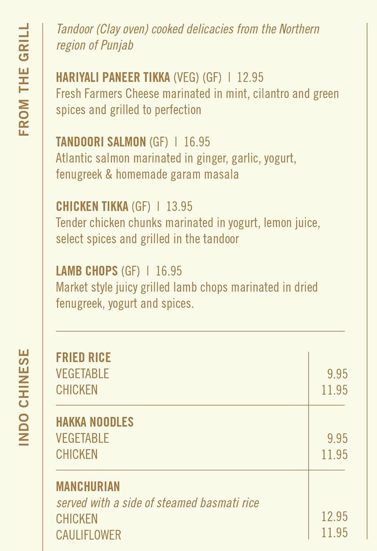 Saffron Circle menu - tandoor, indo Chinese
