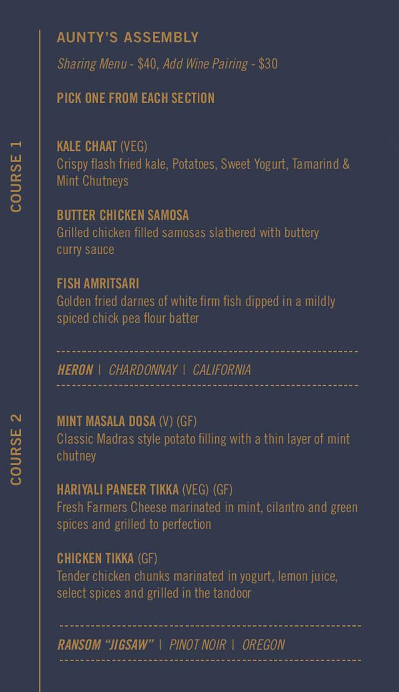 Saffron Circle menu - tasting menu courses one two