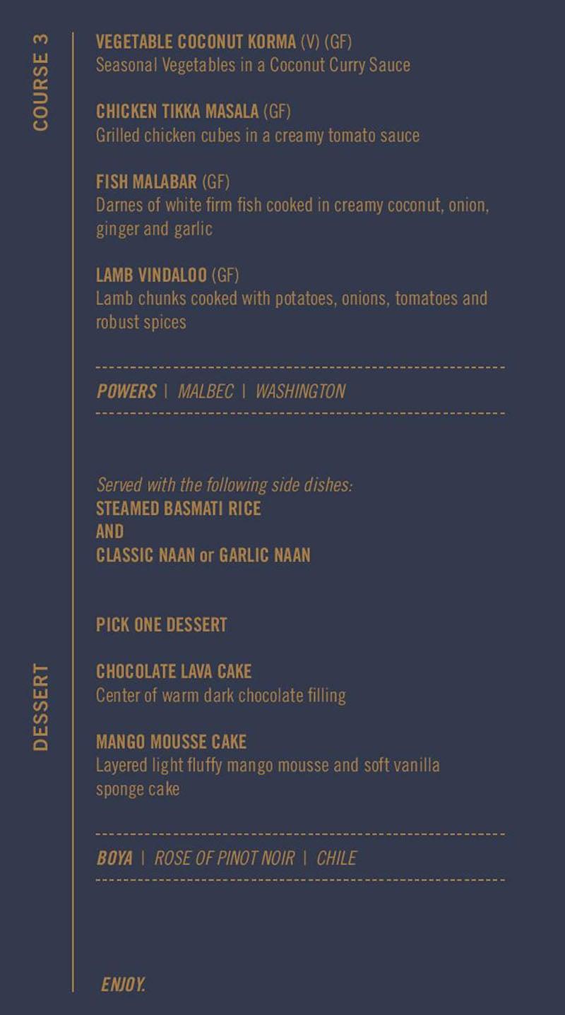 Saffron Circle menu - tasting menu courses three four