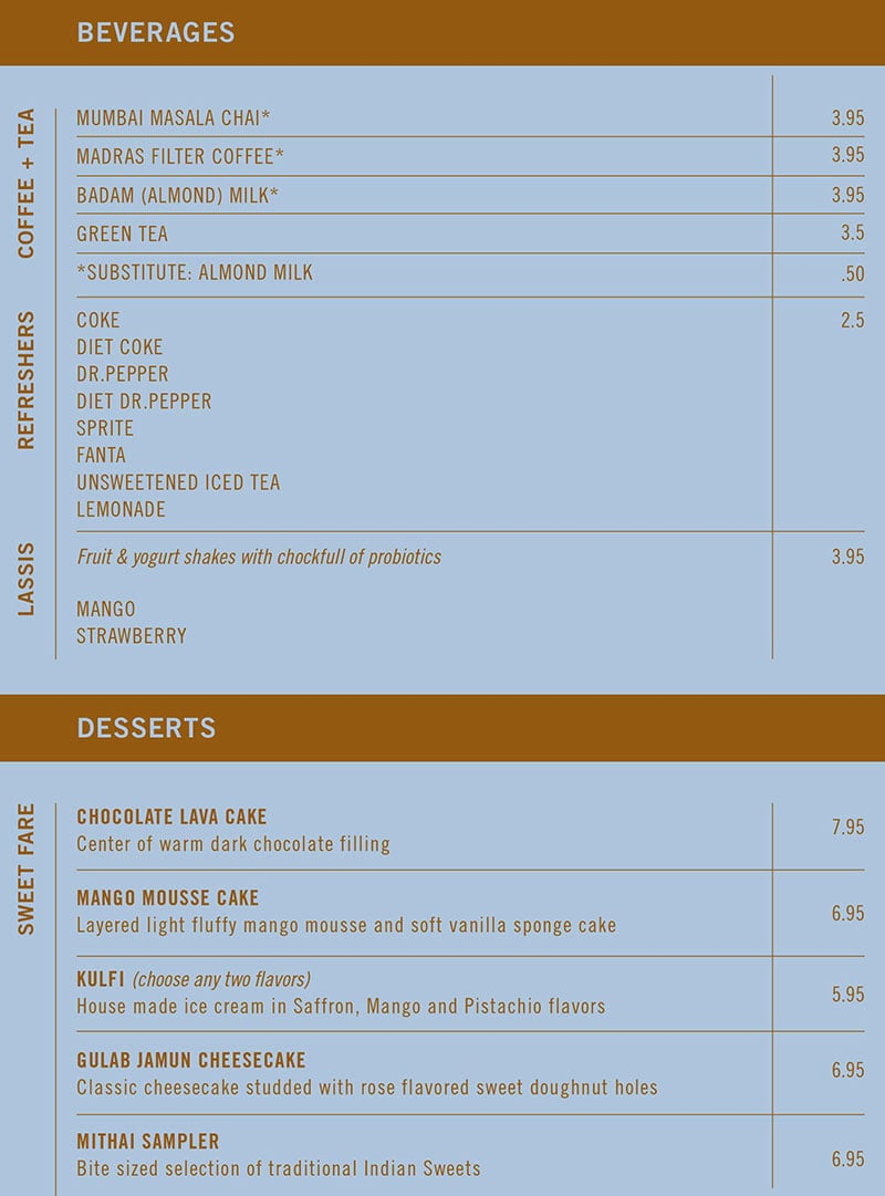 Saffron Circle menu - tea, coffee, lassis, desserts