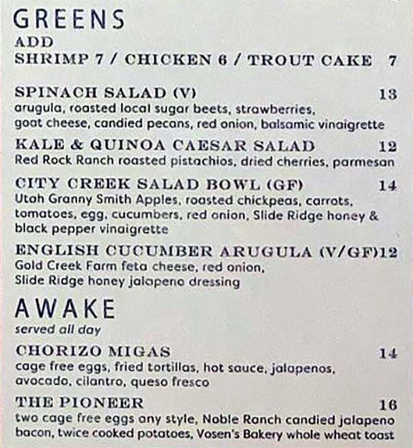 Salt Stone menu - greens awake