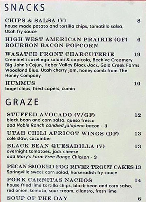 Salt Stone menu - snacks, graze
