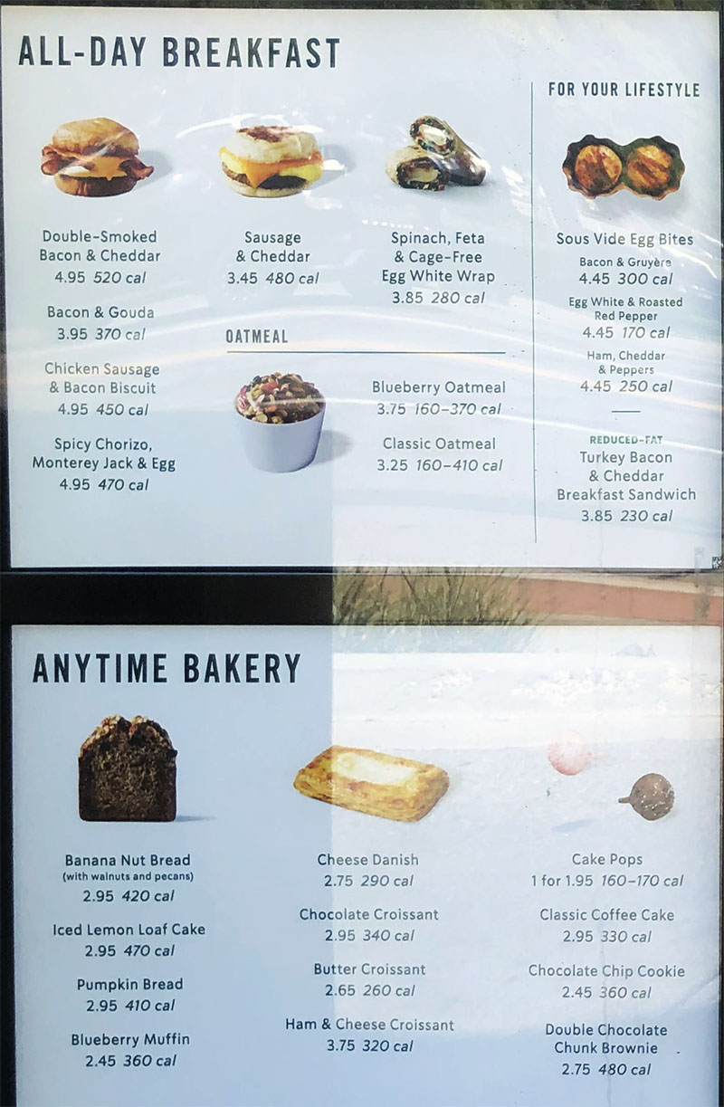 Starbucks menu - all day breakfast anyime baker