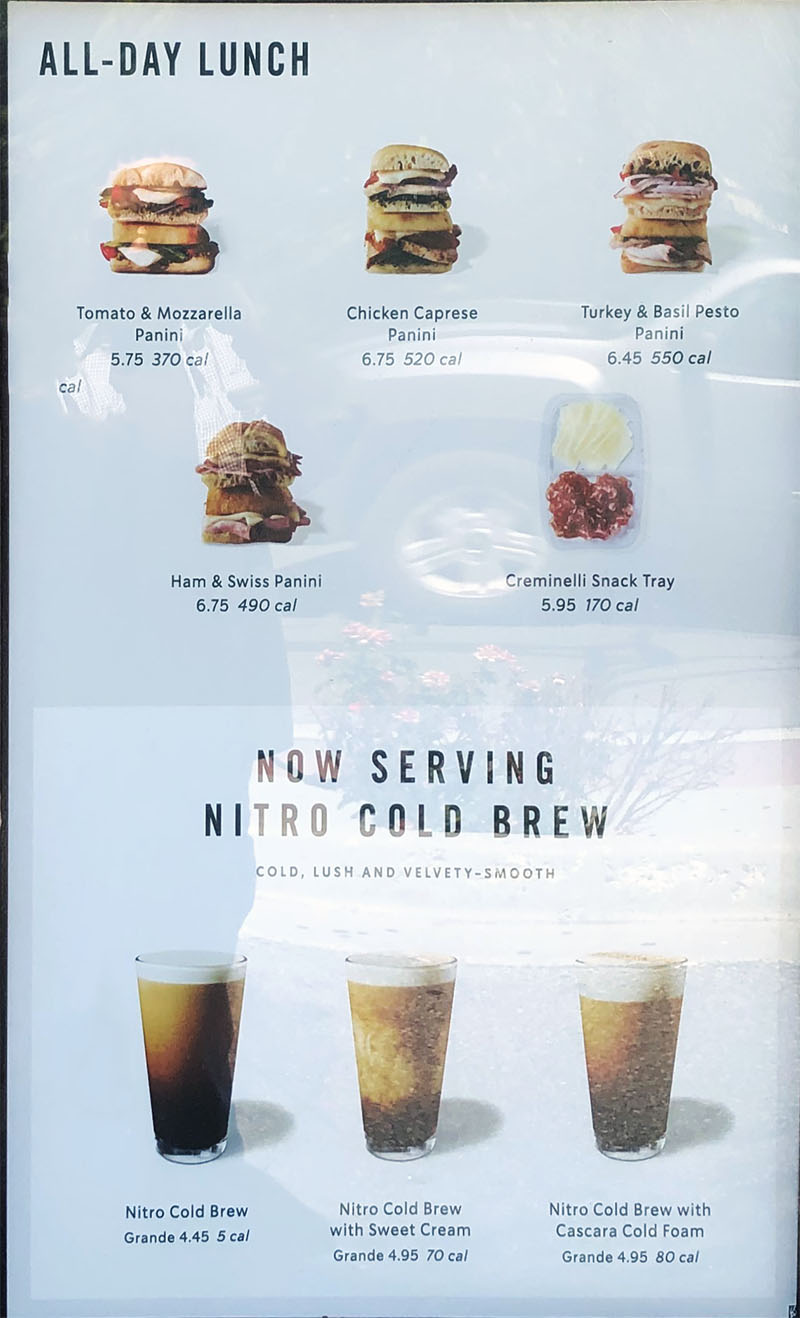 Starbucks menu - all day lunch, cold brew