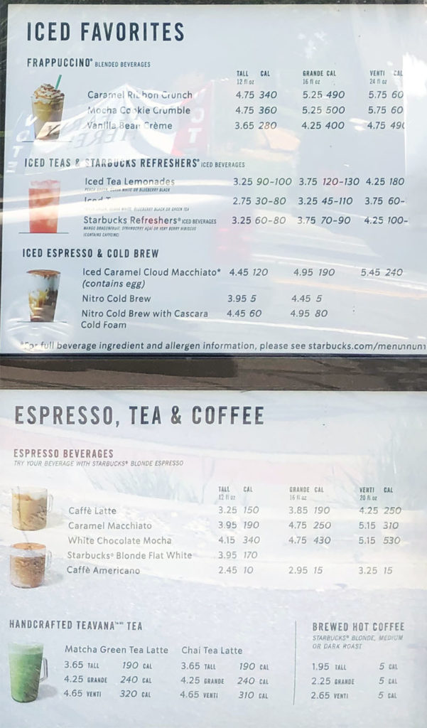 Starbucks menu - iced favorites, espresso, tea, coffee