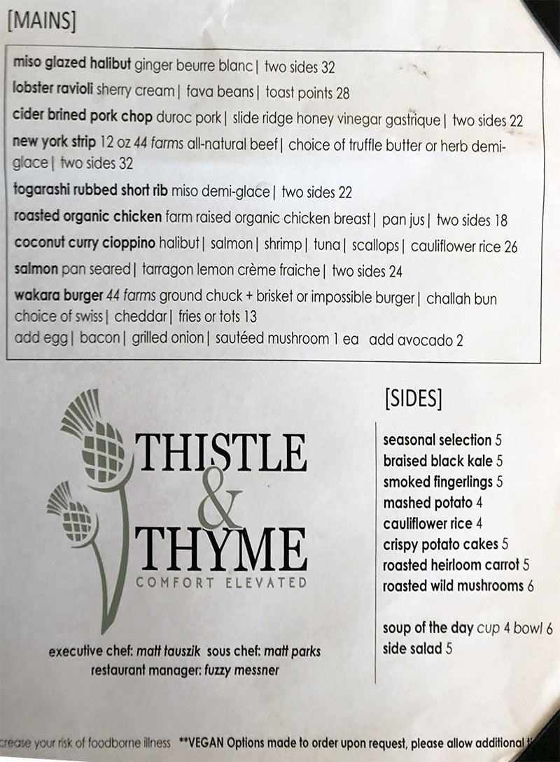 Thistle And Thyme menu - entrees, sides