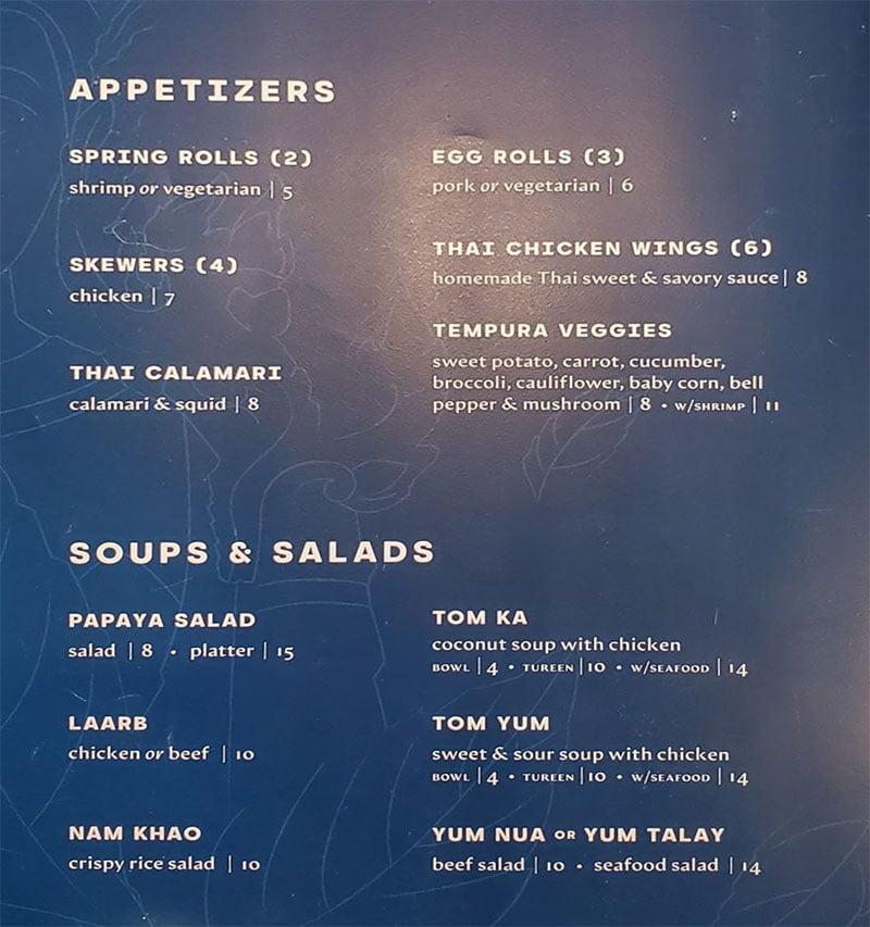 Tuk Tuks menu - appetizers, soups, salads