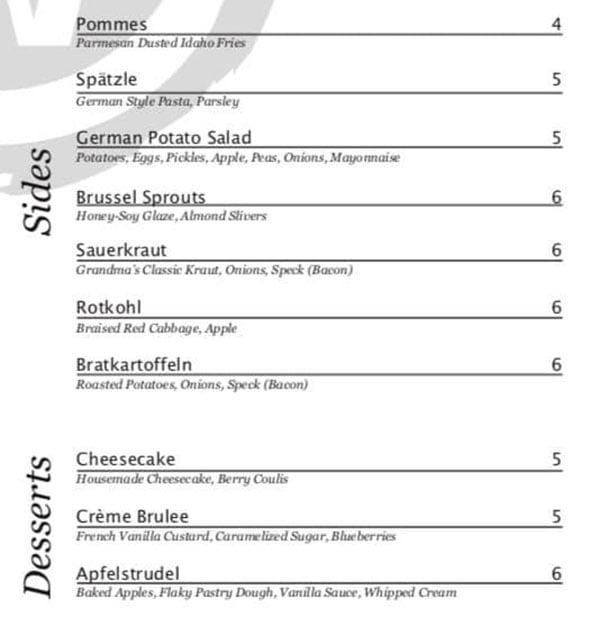 Weller's Bistro menu - sides, desserts