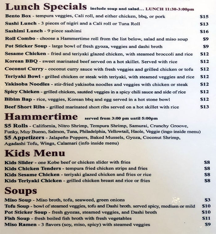 Yellowfinn Sushi Bar And Grill menu - lunch specials, happy hour, kids, soups