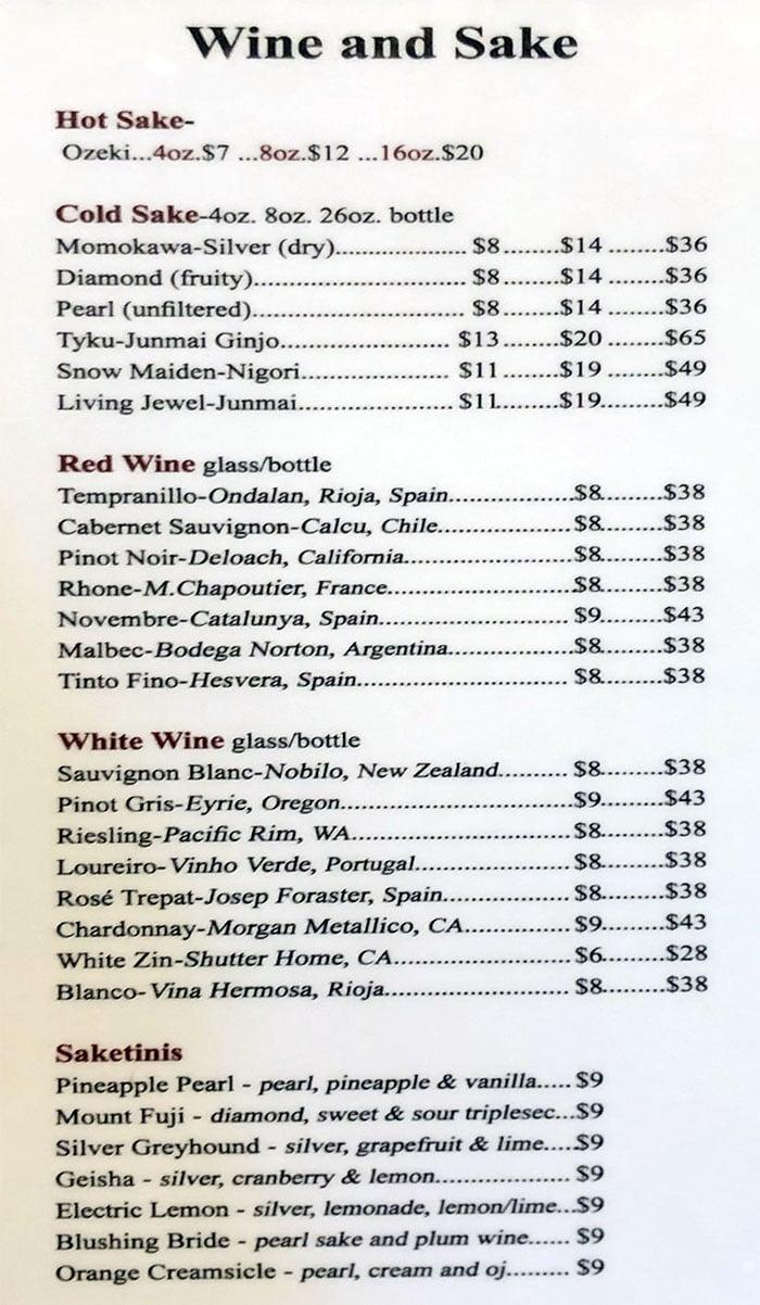 Yellowfinn Sushi Bar And Grill menu - wine and sake