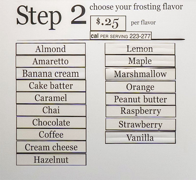 Cinnaholic Salt Lake City menu - ordering step two