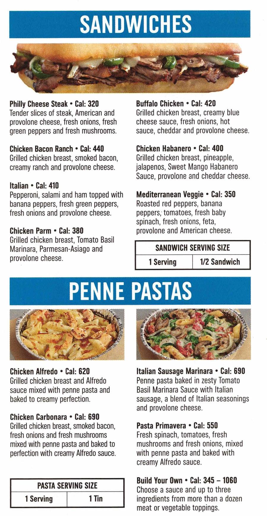Domino's Pizza menu - sandwiches, penne pasta