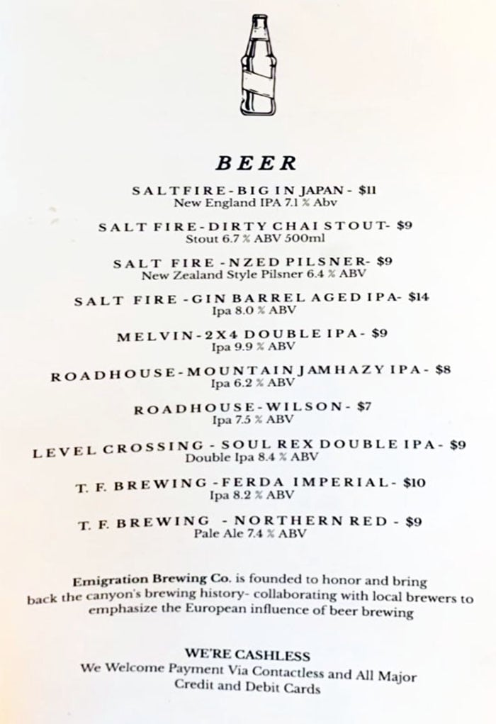 Emigration Brewing Co menu - beer