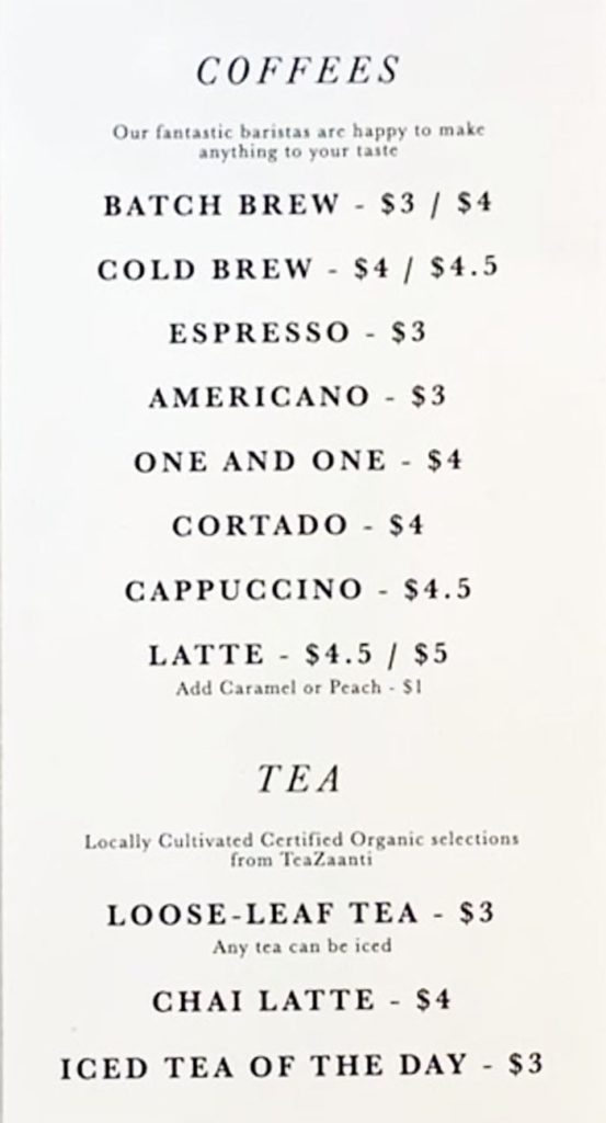 Emigration Brewing Co menu - coffee, tea