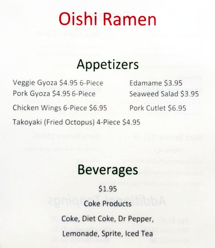 Oishi Ramen menu - appetizers, beverages