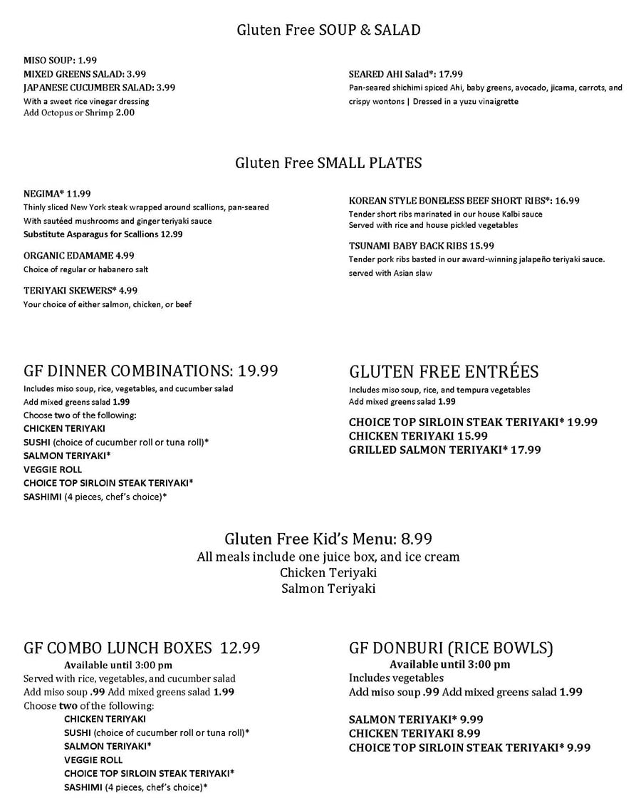 Tsunami curbside menu - gluten free page one
