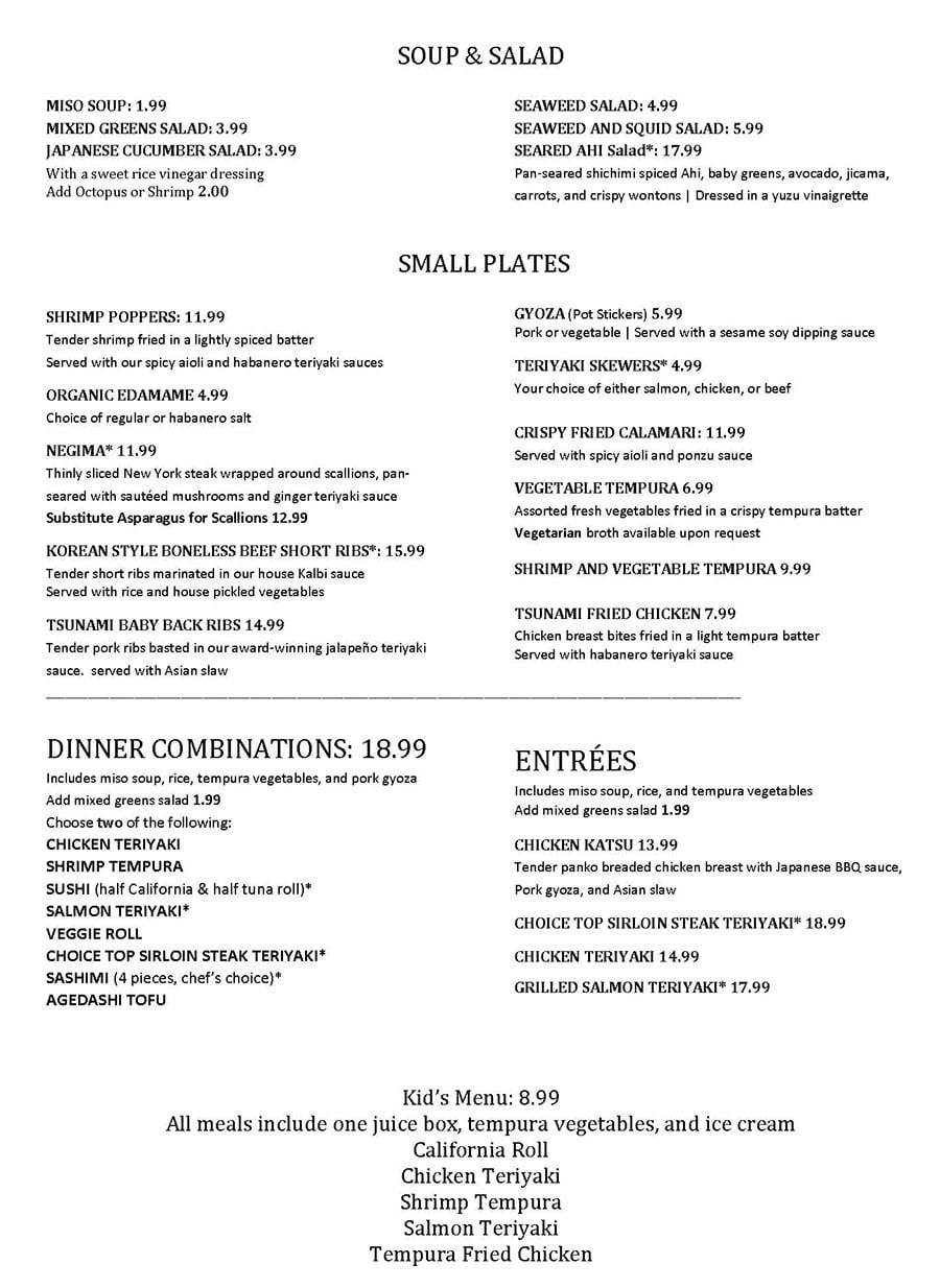 Tsunami curbside menu page one