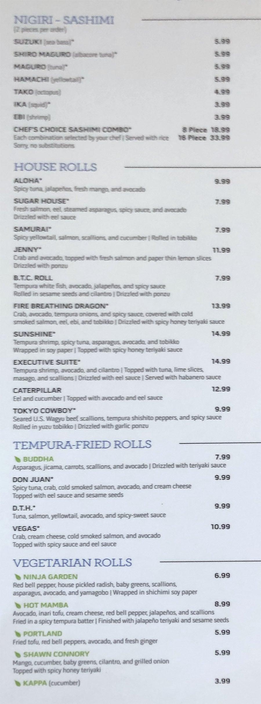 Tsunami menu - nigiri, sashimi, house rolls, tempura rolls, vegetarian rolls