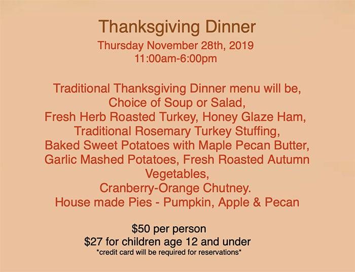 Tuscany Thanksgiving 2019 menu
