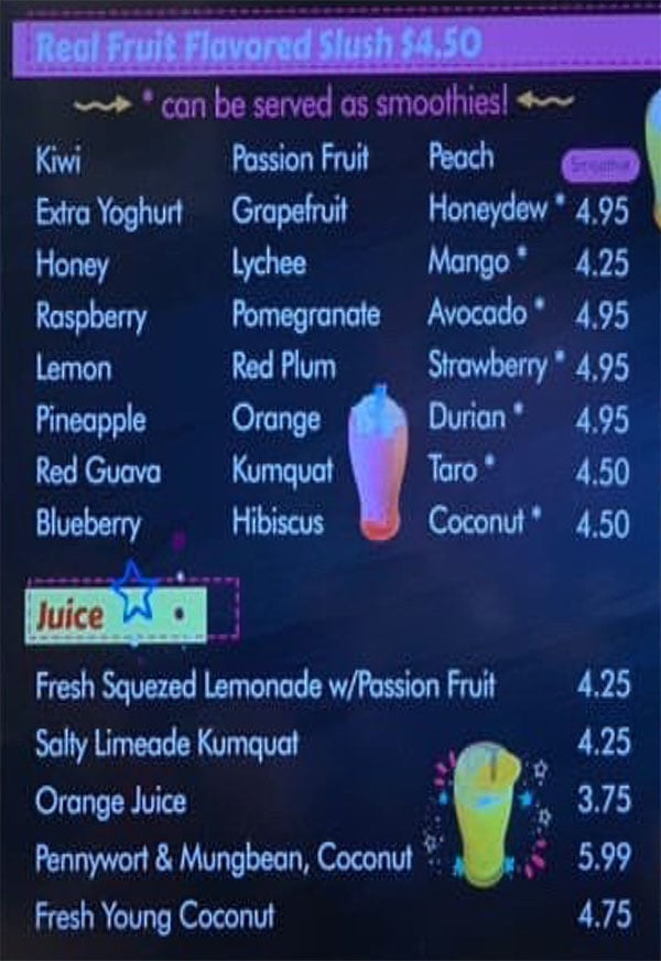 7 Buddha Tea menu - real fruit slush, juice
