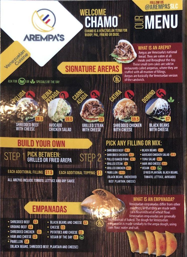 Arempa's menu - page one