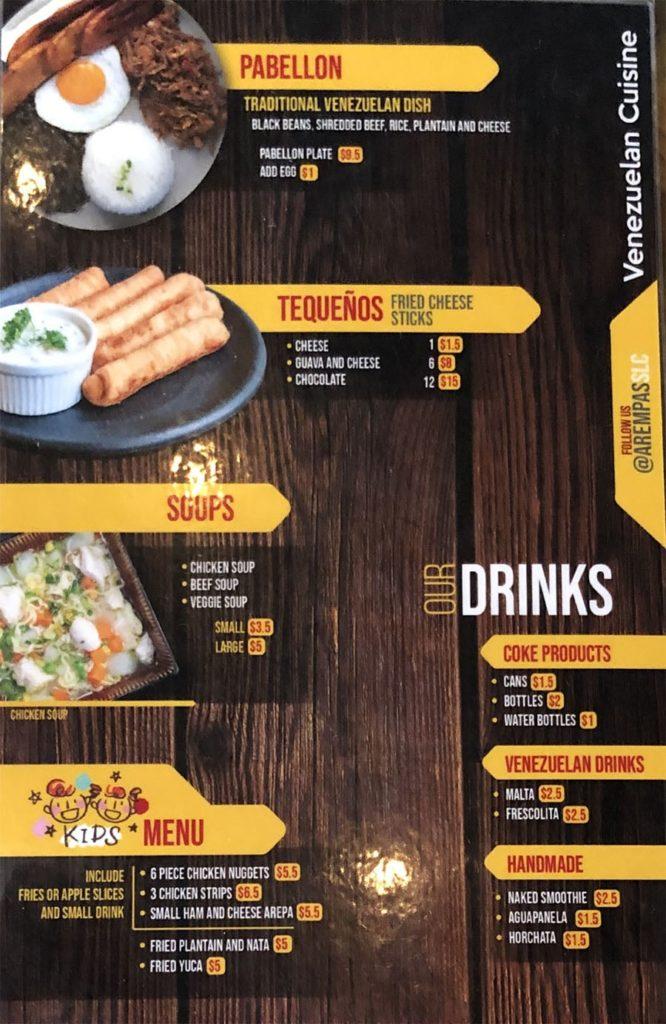 Arempa's menu - page three