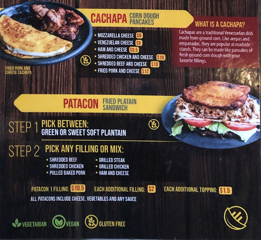 Arempa's menu - page two