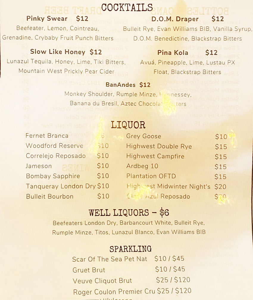 Beer Zombies menu - cocktails, sparkling, liquor