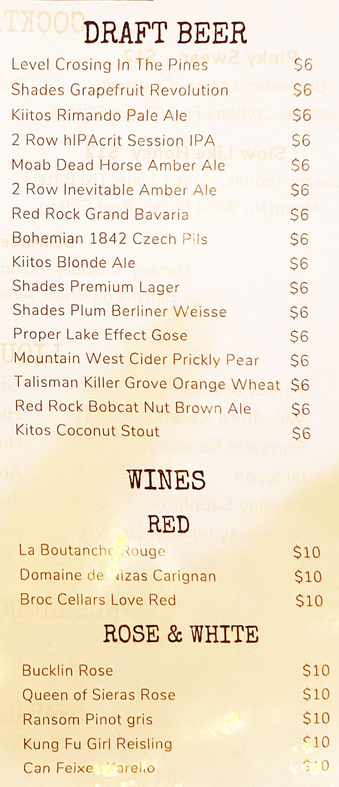 Beer Zombies menu - draft beer, wine