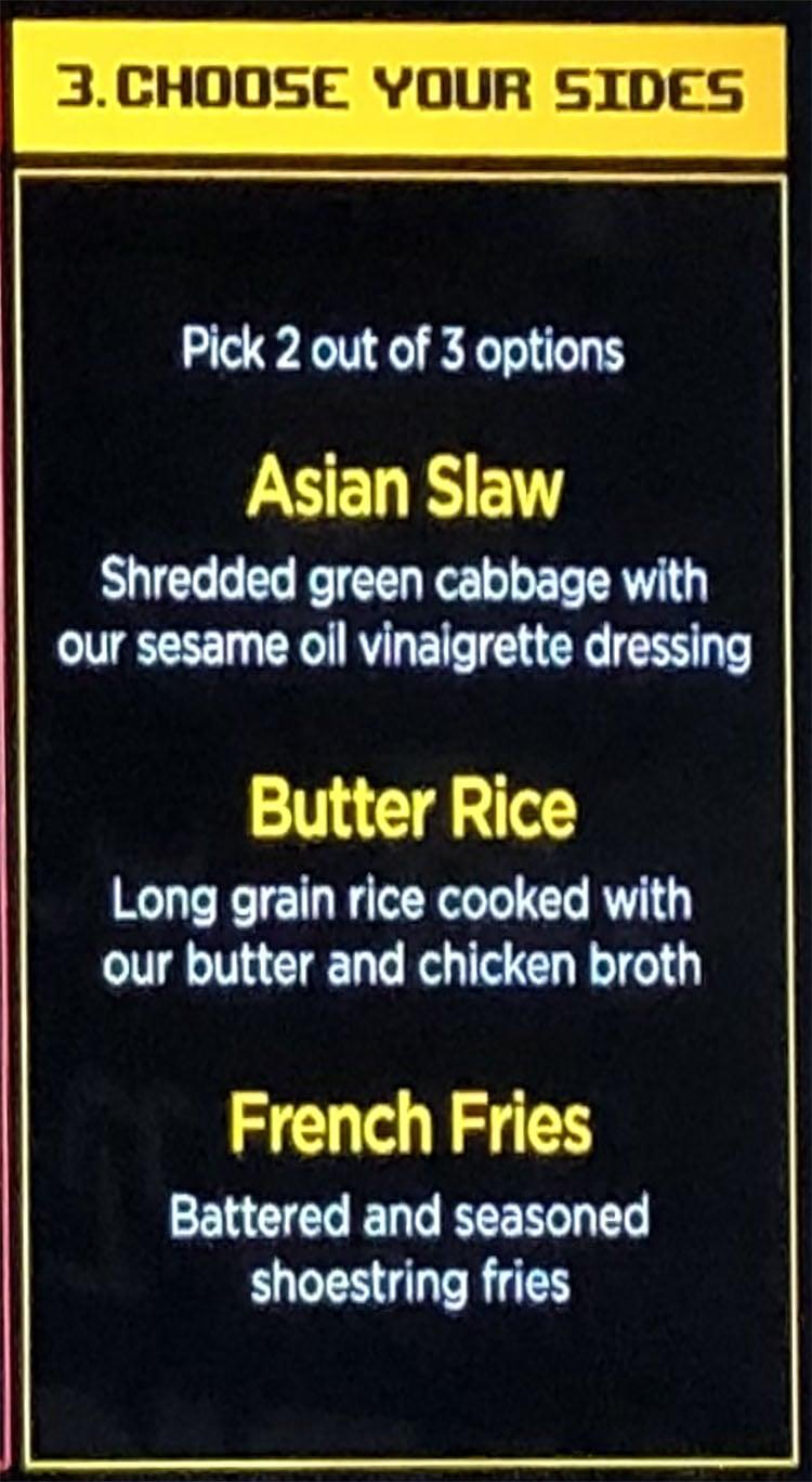 Bok Bok Utah menu - signature, choose your sides