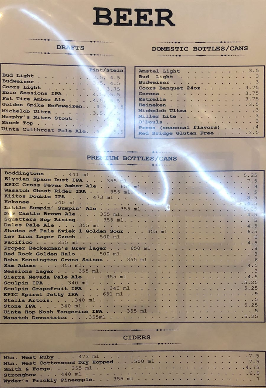 Brickyard Bar menu - beer, cider