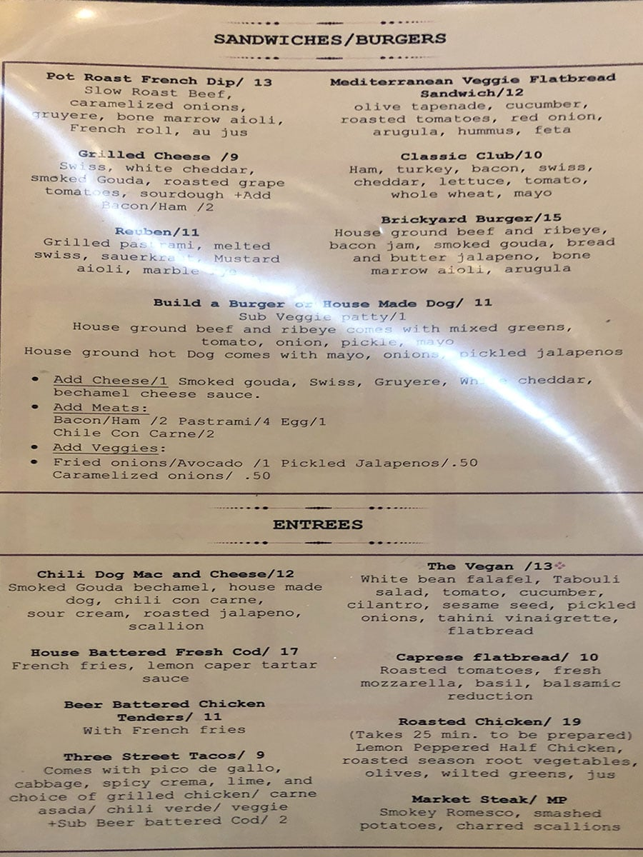 Brickyard Bar menu - sandwiches, burgers, entrees