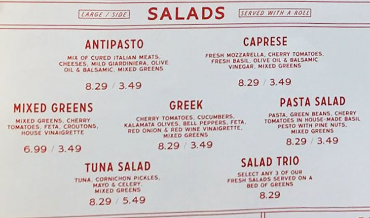 Caputo's Holladay menu - salads