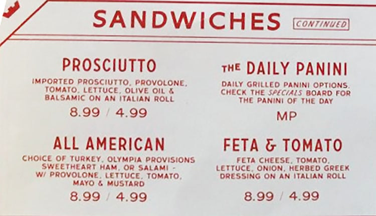 Caputo's Holladay menu - sandwiches