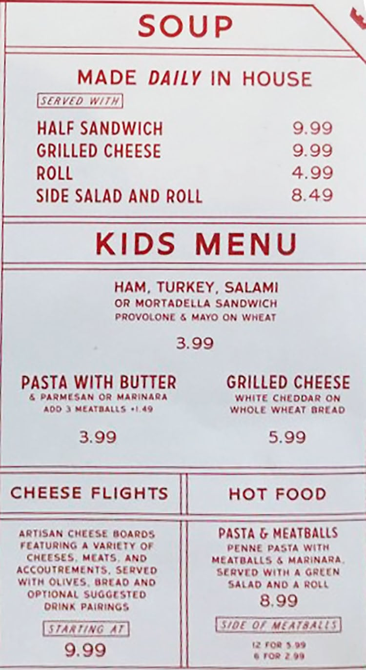 Caputo's Holladay menu - soup, kids, other items