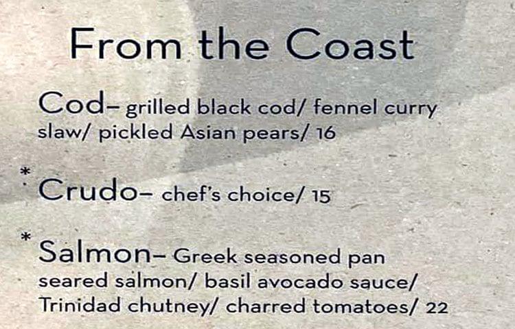 Cultivate Craft Kitchen menu - from the coast