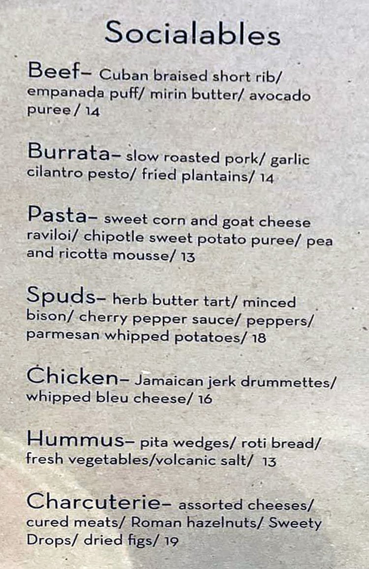 Cultivate Craft Kitchen menu - sociables