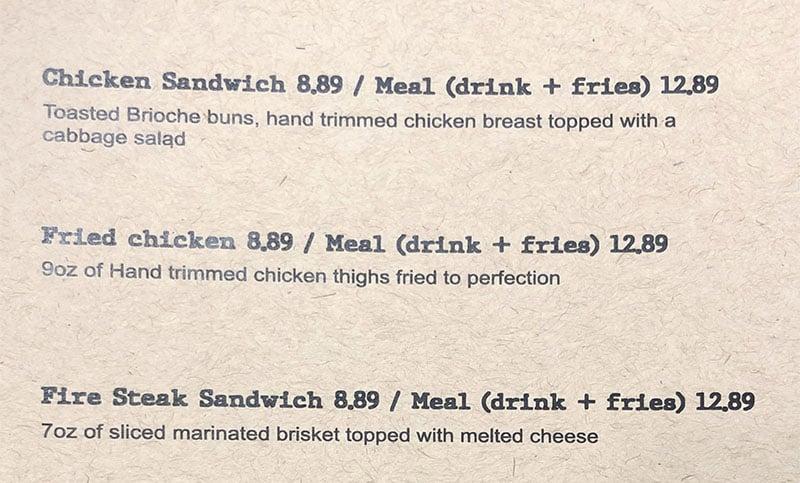 Kluck's Krispy Chicken menu - page one