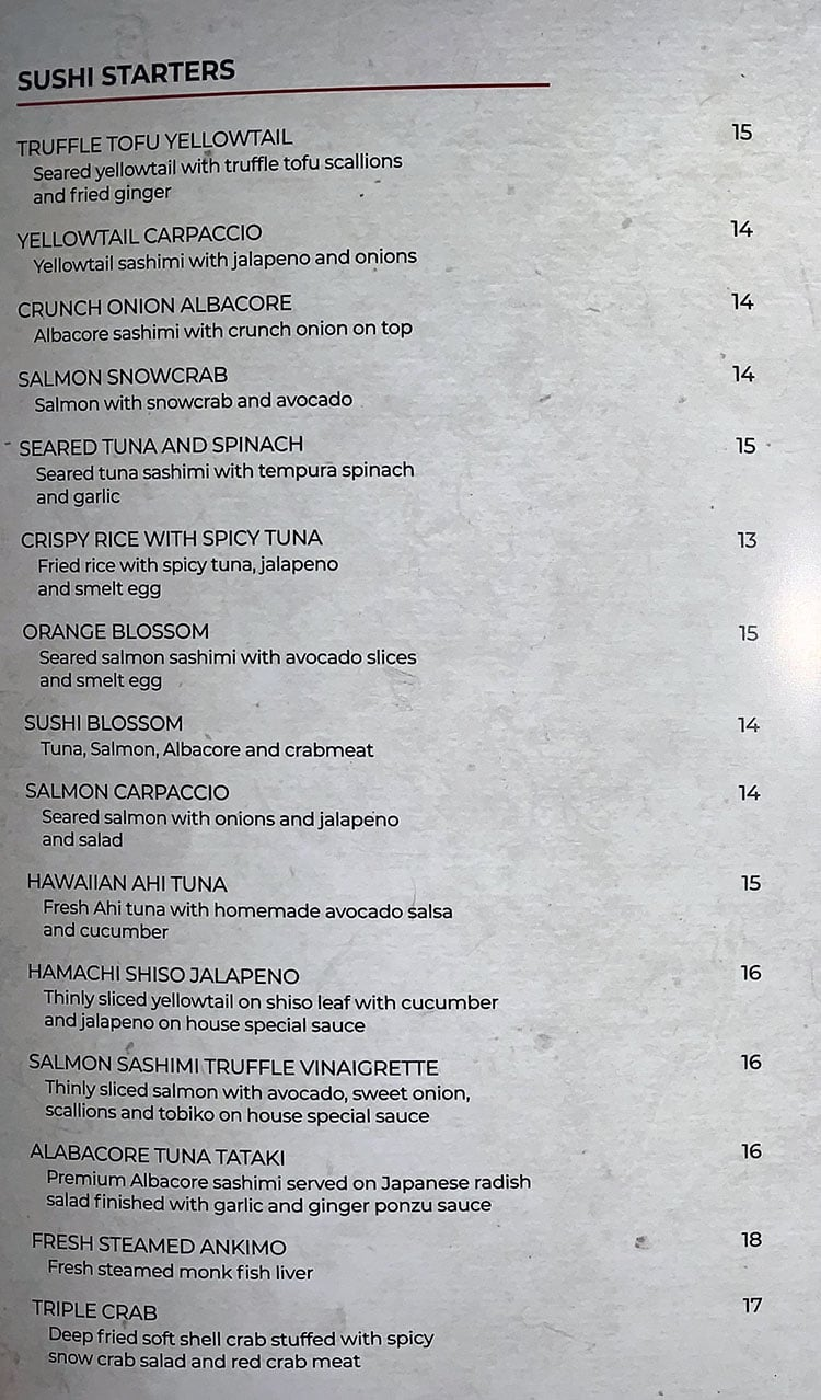Momo's Japanese Sushi & Ramen - sushi starters