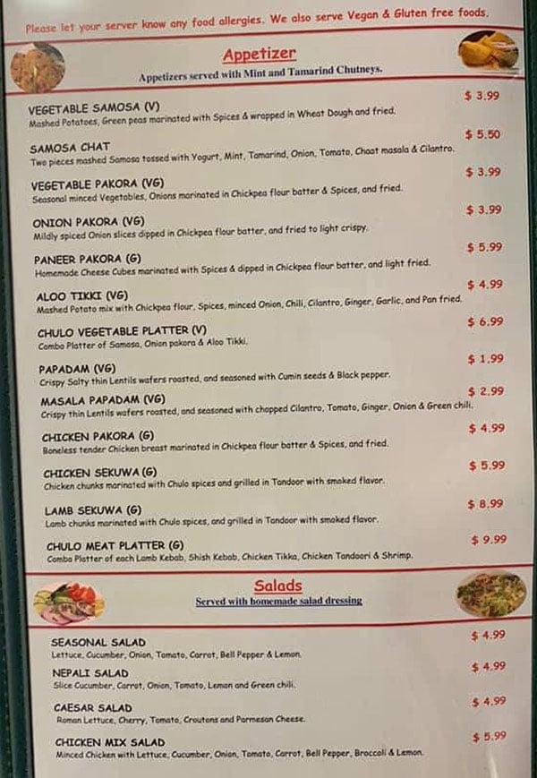 Nepali Chulo menu - appetizer, salads