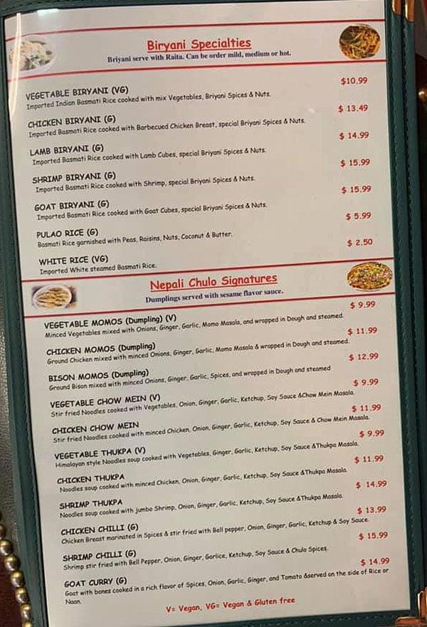 Nepali Chulo menu - biryani, specialties