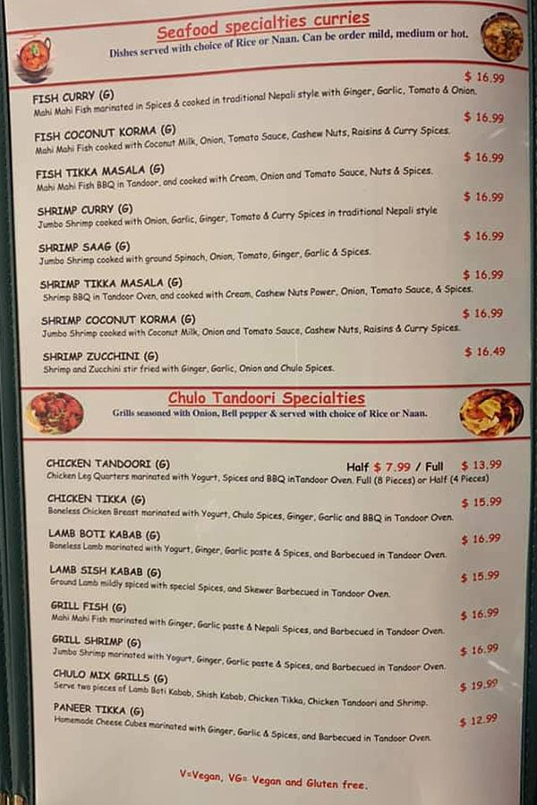 Nepali Chulo menu - seafood, tandoori