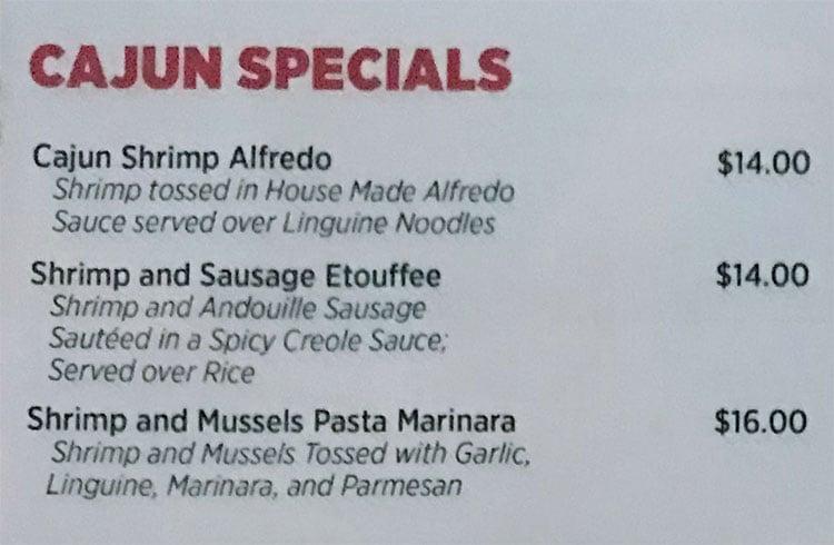 O Crab Cajun Seafood And Bar menu - Cajun specials