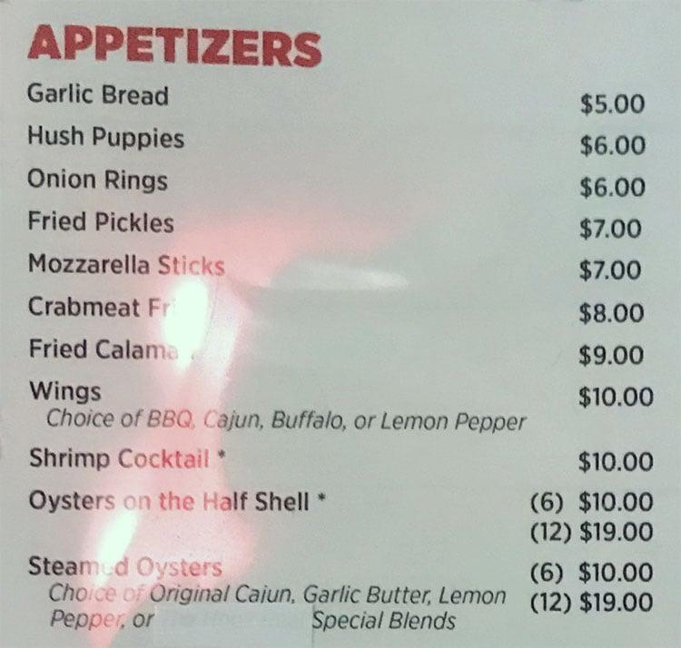 O Crab Cajun Seafood And Bar menu - appetizers