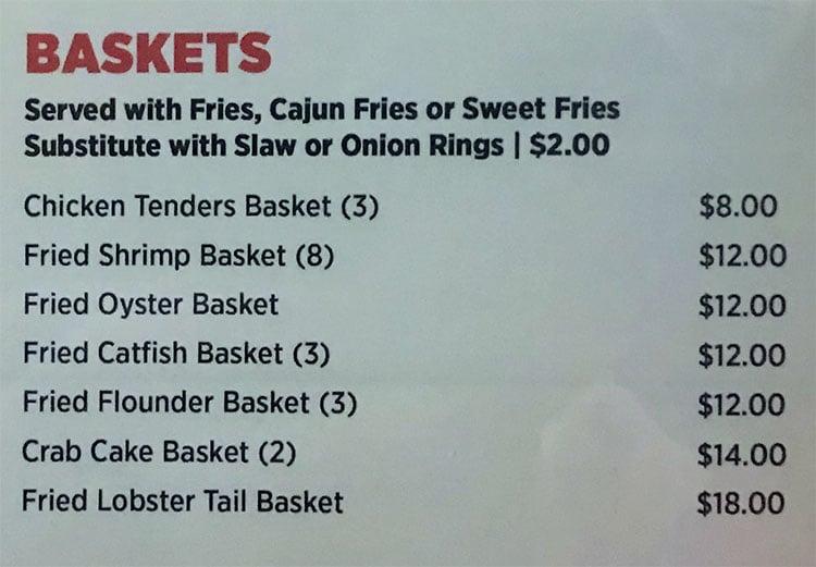 O Crab Cajun Seafood And Bar menu - baskets