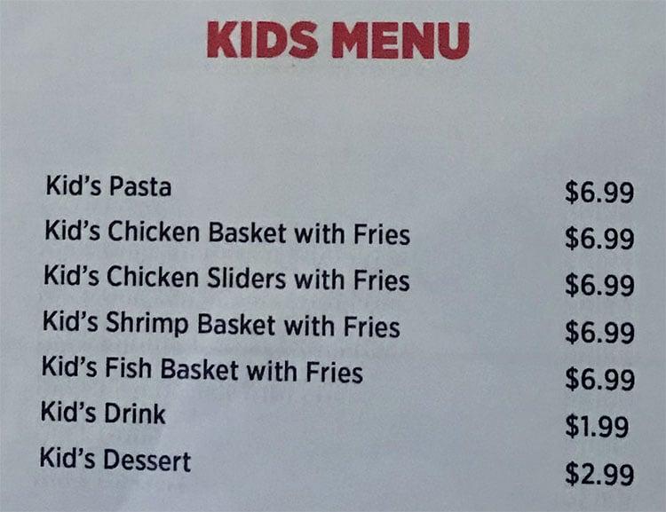 O Crab Cajun Seafood And Bar menu - kids menu